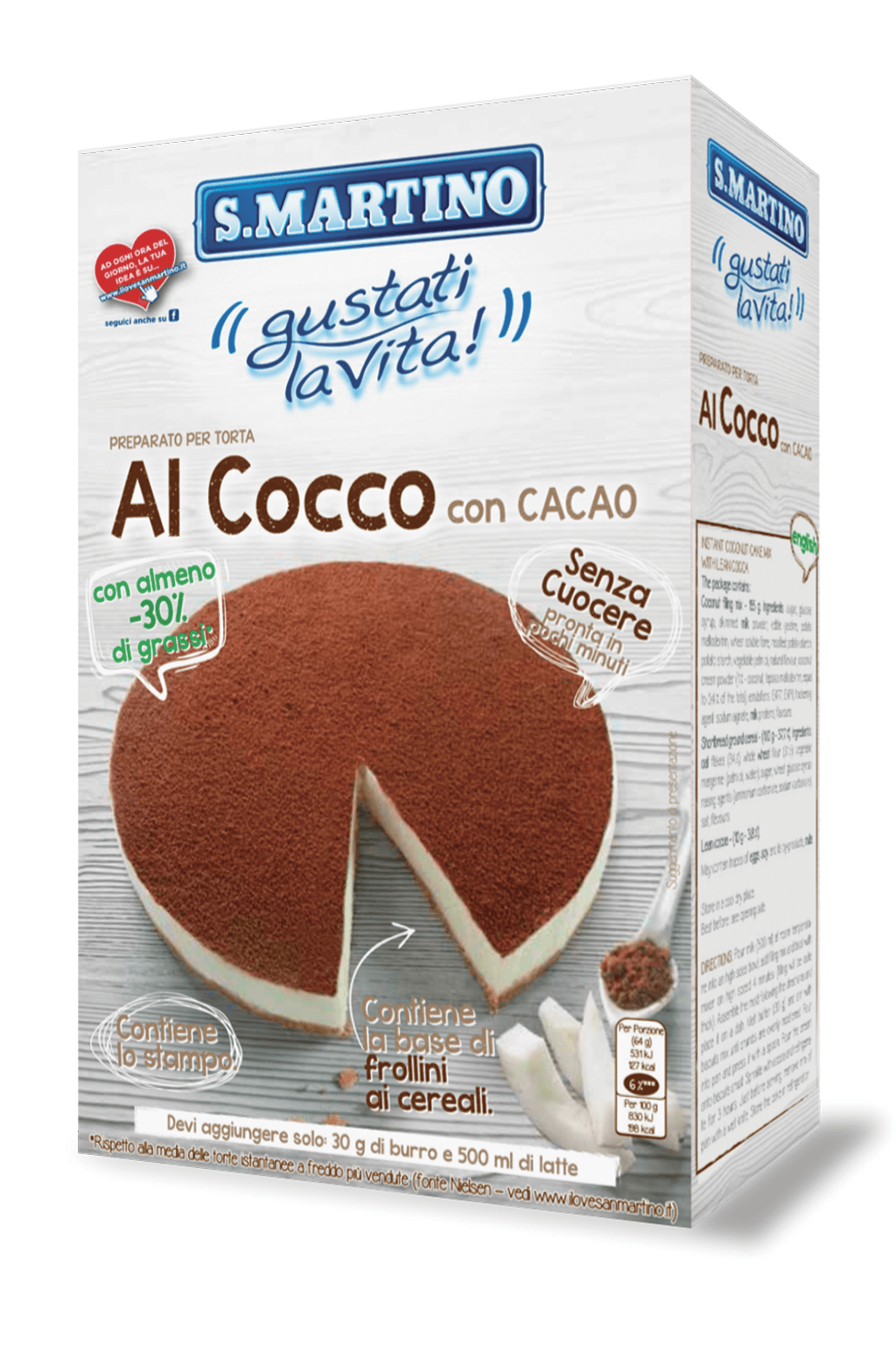 Coconut with Cocoa cake mix (-30% of fats) 265g