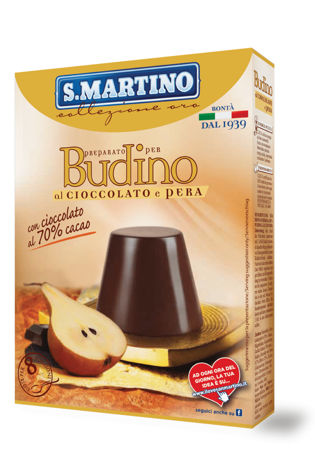 Dark Chocolate 70% and Pear pudding mix 96g